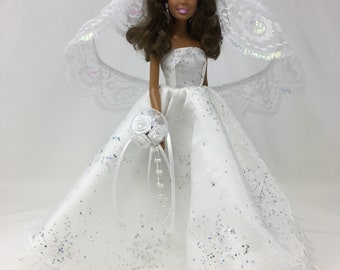 "Doll Wedding Dress-11.5"" Doll Clothes-Doll Bridal Gown-White Wedding Gown- Crystal Wedding Dress-Silk Flower Bouquet-Iridescent Lace Veil"