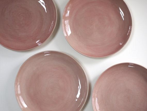 Like this item? & Stoneware Plates Dinner Set glazed in rosy pink. Ceramic