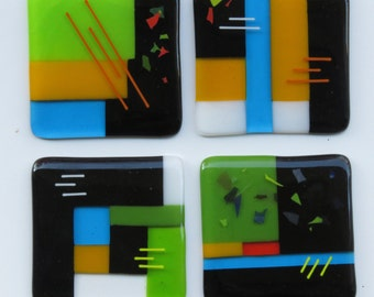 "Fused Art Glass Coasters 4' x 4"" - Set of 4"