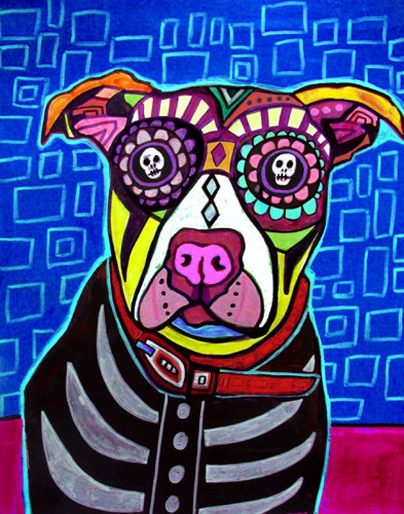 HUGE SALE Pit Bull Art Day Of The Dead Folk Dog Sugar