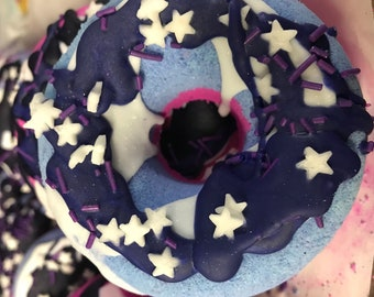 Jelly donut Bath Bomb- Black raspberry & Vanilla- Moisturizing- Bubbles- Fizzing- Gift for anyone