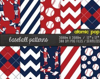 Baseball Red & Blue Patterns// Instant Download Paper // Seamless patterns, tiles, decoupage