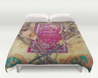 Romeo and Juliet Comforter or Duvet Cover: home decor, bedroom, bedding, Shakespeare, book, hipster, librarian, literary, red, blue, roses