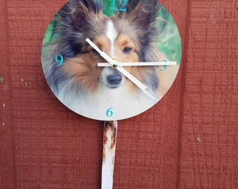 """Tail Wagging 8"""" Sheltie or your pet clock"""