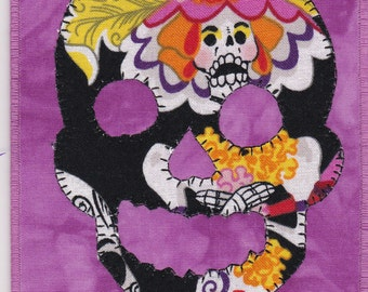 Day of the Dead Quilted Fabric Postcard