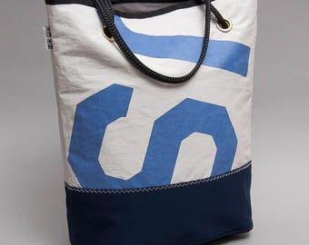 J24 recycled sail tote bag with the original US letters