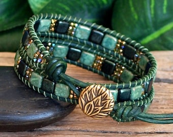 Green Czech Tile and Seed Bead Beaded Leather Wrap Bracelet, Tile Bead Double Wrap, Modern Bohemian Jewelry, Gift For Her