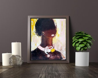 "XL fine art canvas print, original oil on canvas 19""x22"", modern abstract figurative painting female,African American women beauty fashion"