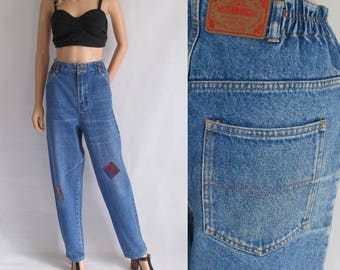 High waisted jeans mom pants, blue denim, 80s vintage retro trousers, tapered loose leg, x large