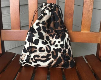 Leopard Print Bag, Trick or Treat Bag or Fabric Gift Bag, 12 x 10, Free Shipping in the USA