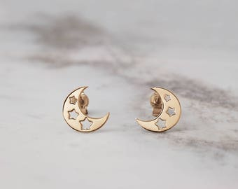 Moon Star Earrings, Crescent Earrings, 14K Gold Earrings, Yellow Gold, Gold Moon Star, Gold Moon Earrings, Women's Gift, Gold Star Earrings