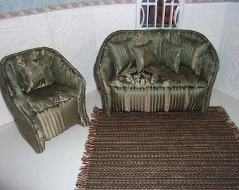 1:6th scale Barbie Dollhouse Handcrafted Furniture Upholstered Sofa & Chair Set BARBIE BLYTHE Living Room Bedroom Green Gold Damask  Carpet
