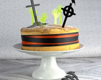 Halloween Cake Toppers - Graveyard Cake Topper - Zombie Cake Topper - Zombie Hands - Halloween Decorations - Cake Topper - Halloween Baking