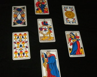 Marseille French TAROT READING vintage Cards outlook insight Career Love relationships money creativity spiritual guidance perspective
