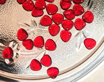 Rose Petal Beads - 8mm x 7mm - Siam Ruby Red - Czech Glass - 50 Beads - 340-87-9008