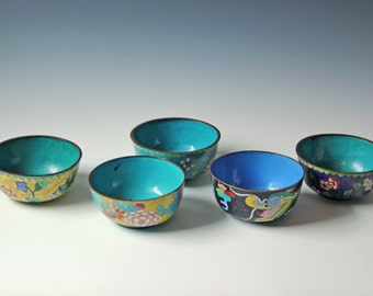 Antique and vintage collection of Chinese cloisonne enamel bowls teal yellow green floral dragon pattern