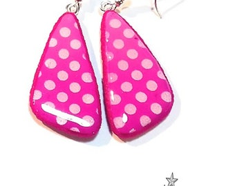 Earrings with dots, ombre fuchsia pink screen printed women's jewelry handmade polymer clay