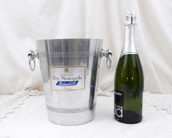 Tall Vintage French Mid Century Metal Champagne Ice Bucket / Cooler Heidsieck & Co with 2 Handles, Retro Chateau Chic Decor, Eparnay France