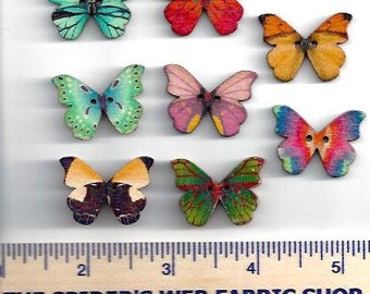 WOODEN BUTTERFLY BUTTONS - 2 Hole - Sew Through - Painted