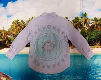 Boys dress shirt with hand painted mandala design on back.