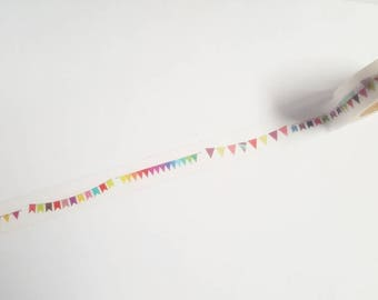 Coloured bunting washi tape, Bunting tape, Washi tape, Planner supplies, Paper tape, Bunting, Coloured bunting, Flags, Flag, Banner, Rainbow