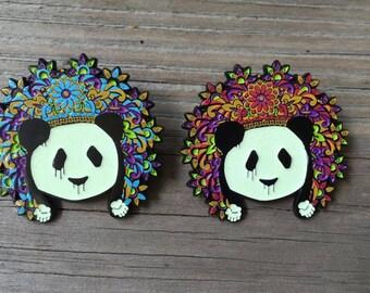 Pink Glow Deorro Panda Funk Hat Pin