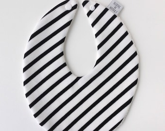 Little black & white striped bib with press button