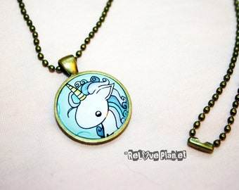"Pretty Unicorn 1"" Pendant Necklace - or 2 for 20 - Happy Magic Fluffy rainbow kawaii - ReLove Plan.et"