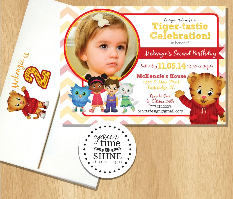 Daniel Tiger Birthday Invitations with Custom Printed