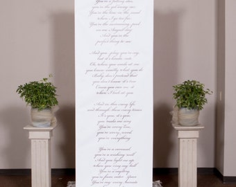 Handwritten style wedding ceremony backdrop for your altar with vows, love poems and love songs aisle runner and wedding backdrop