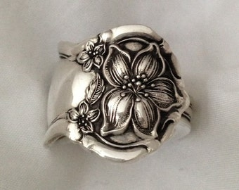 "Spoon Ring ""Orange Blossom"" 1910 Silverware Jewelry Vintage Silverplate Size 5 to 12 Choose Your Size"