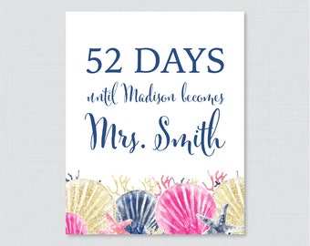 Days Until Mrs Nautical Bridal Shower Sign Printable - Beach Themed Bridal Shower Days Until Wedding Sign - Pink and Navy Bridal 0012-P
