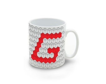 Monogram / Initial Lego Brick Letter White pattern Lego Coffee / Tea Mug / Cup