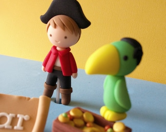 Fondant Pirate Cake Topper Set - Pirate, Parrot, Treasure Chest and Name Plaque