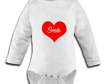 fitted body suit with image heart smile