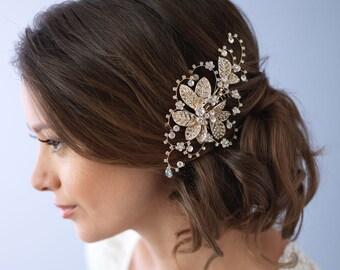 Floral Gold Bridal Comb, Bridal Hair Accessory, Gold Bridal Hair Comb, Floral Hair Comb, Gold Wedding Comb, Rhinestone Comb ~TC-2281