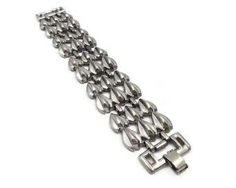 Vintage Wide Silver Pot Metal Bracelet - Modernist Jewelry, Tear Drop Shape, Silver Bracelet, Vintage Bracelet, Statement Jewelry