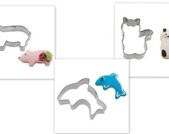 3 cookie cutters - cat, pig & dolphin, stainless steel