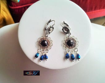 Silver earrings in black and blue
