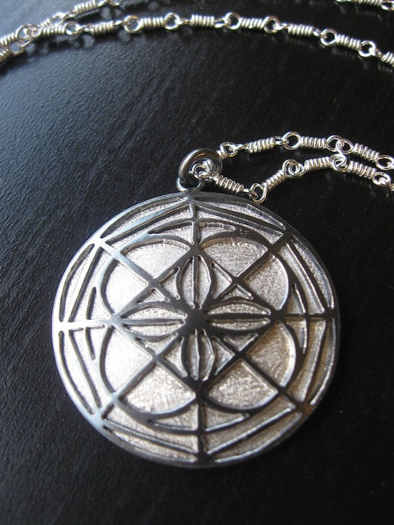 Sterling Silver Kenpo Universal Pattern Pendant Oxidized And