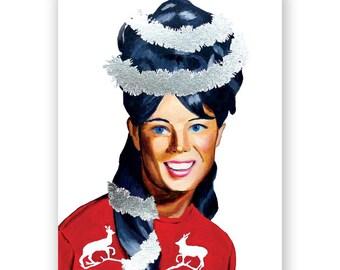 Tinsel Girl Christmas Card