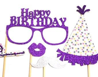 Photo Booth Props - Happy Birthday Mini Set Purple Star 5PC