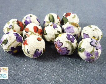 6 beads fabric on wood, liberty purple, and off-white 14mm (pt23)