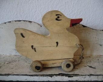 Vintage duck on Wheels old wood toy shabby