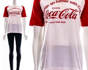 Vintage 80s RARE Collectible Coca Cola T Shirt Coke Tee Sports Athletic Jersey Cotton PAPER Thin Things Go Better With Coke Unisex S M