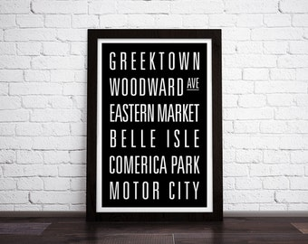 DETROIT, MICHIGAN Subway Art Print - Customizable