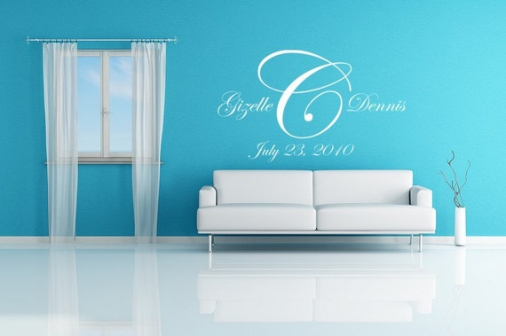 Wedding Monogram Vinyl Decal Wall Mural