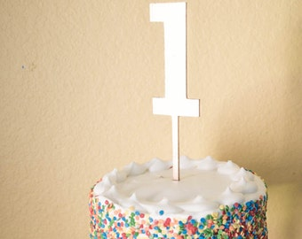 Number One Birthday Cake Topper - wood number