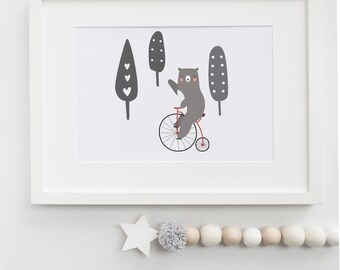 bear riding bicycle children's print/nursery print / baby shower gift/ kid's room/5x7 or 8x10