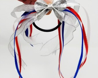 4th Of July Ponytail Streamers, Red White and Blue, Memorial Day, Free Shipping, Girls Patrotic Ponytail Holder, Ribbon Patrotic Streamers